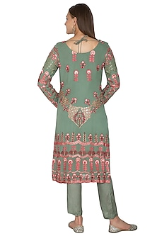 Olive Green Embroidered Kurta Set by Abhi Singh