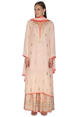 Peach Georgette Gharara Set by Abhi Singh