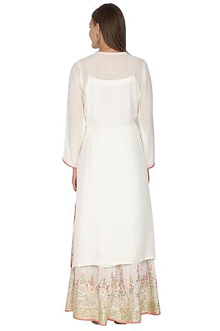 Off White Georgette Gharara Set by Abhi Singh