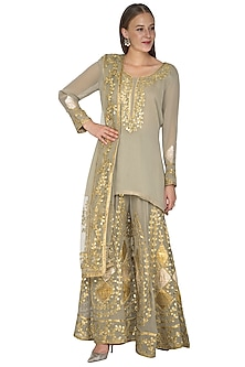 Olive Green Embroidered Sharara Set by Abhi Singh
