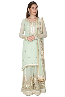 Mint Green Embroidered Sharara Set by Abhi Singh