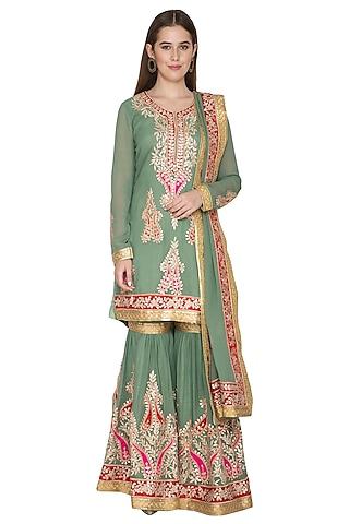 Moss Green Kurta Sharara Set by Abhi Singh