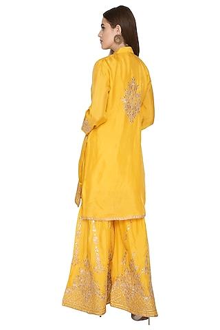 Yellow Silk Kurta Sharara Set by Abhi Singh