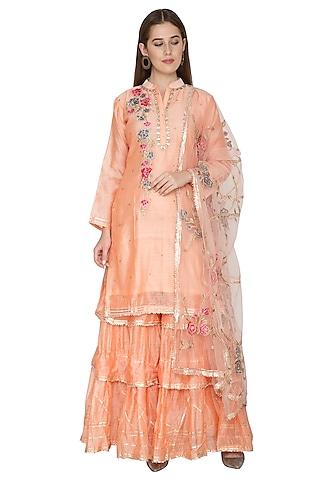 Peach Embroidered Kurta Sharara Set by Abhi Singh