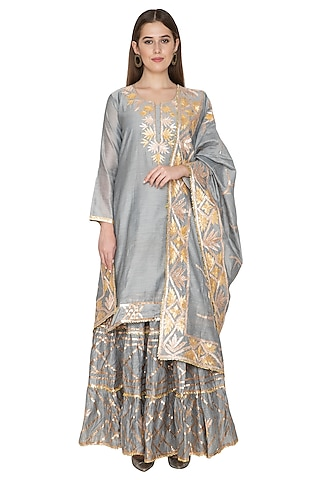 Ash Grey Embroidered Lehenga Set by Abhi Singh