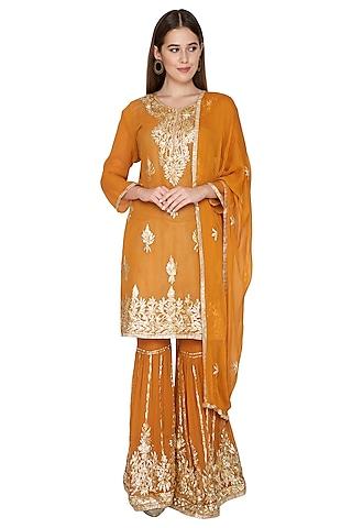 Turmeric Yellow Kurta Sharara Set by Abhi Singh