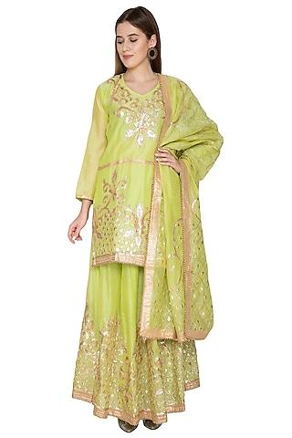 Neon Green Long Kurta Sharara Set by Abhi Singh