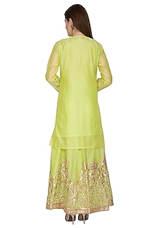Neon Green Long Kurta Sharara Set by Abhi Singh