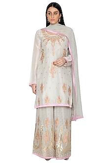 Grey Silk Kurta Sharara Set by Abhi Singh-EDITOR'S PICK
