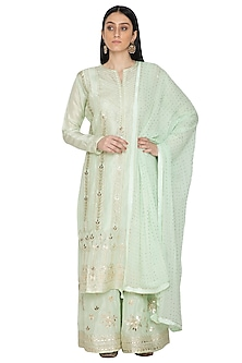 Sea Green Silk Kurta Sharara Set by Abhi Singh