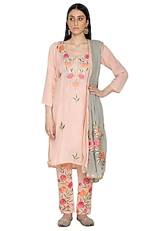 Peach Floral Resham Kurta Set by Abhi Singh