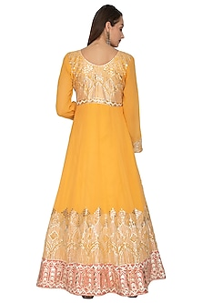 Mustard Yellow Embroidered Anarkali With Dupatta by Abhi Singh