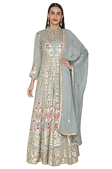 Grey Embroidered Anarkali With Dupatta by Abhi Singh-Shop By Style