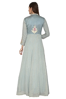 Grey Embroidered Anarkali With Dupatta by Abhi Singh