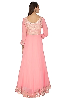 Soft Pink Embroidered Anarkali With Dupatta by Abhi Singh