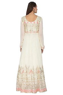 Off White Embroidered Anarkali With Dupatta by Abhi Singh