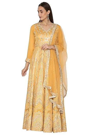 Yellow Embellished Anarkali With Dupatta by Abhi Singh
