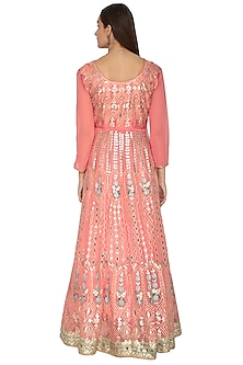 Peach Pink Embroidered Anarkali With Dupatta by Abhi Singh
