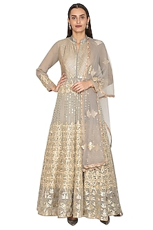 Grey Embroidered Georgette Anarkali With Dupatta by Abhi Singh