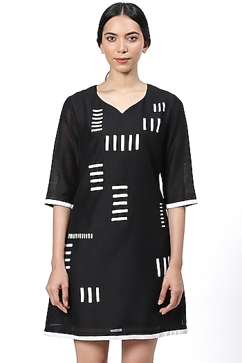 Black & White Embroidered Dress by Abraham & Thakore