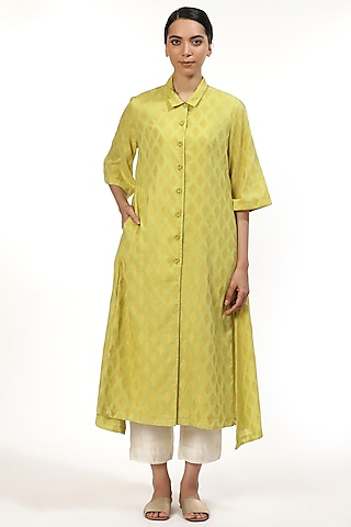 Green Embroidered Long Shirt Kurta by Abraham & Thakore