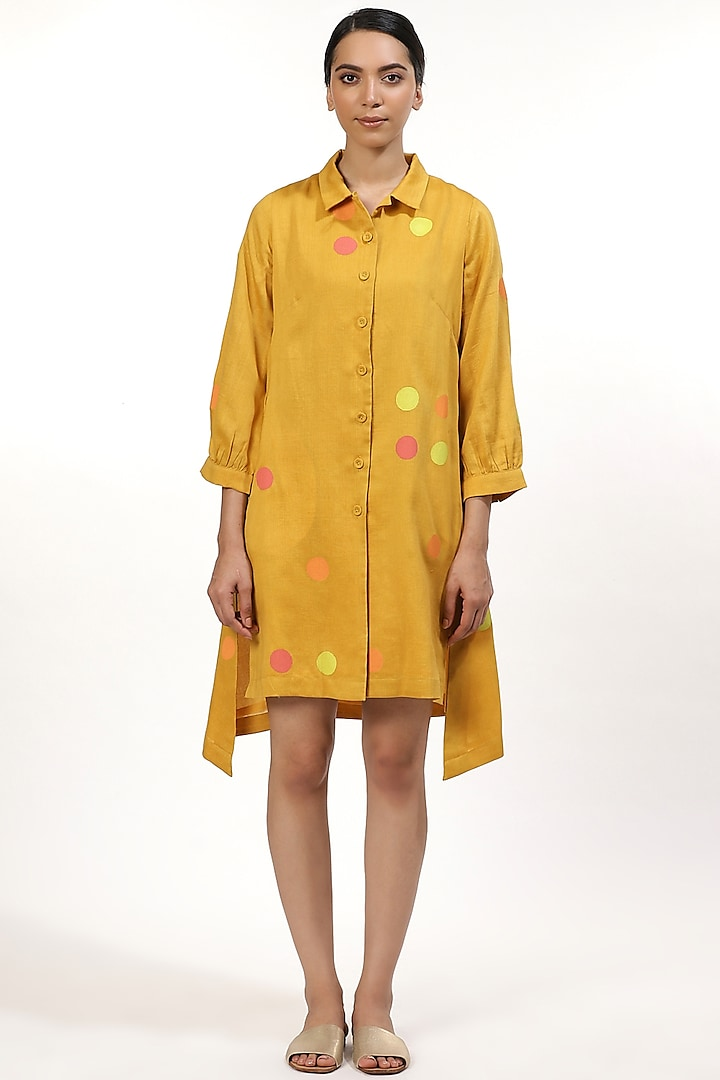 Yellow Dot Printed Shirt Top by Abraham & Thakore
