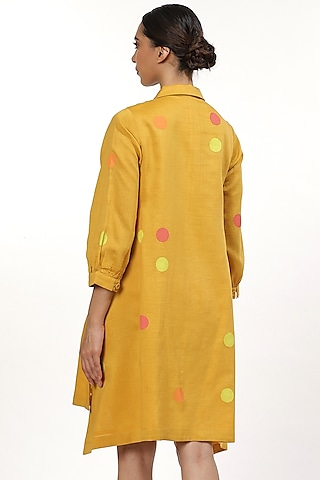 Yellow Dot Printed Shirt Top by Abraham & Thakore