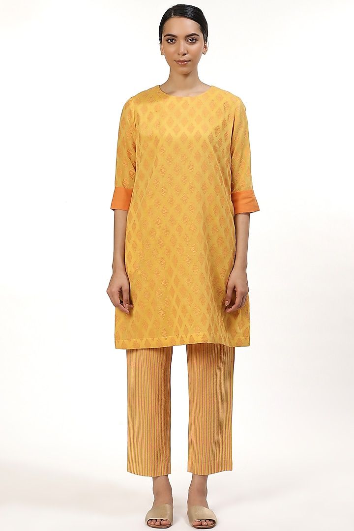 Yellow & Orange Embroidered Tunic by Abraham & Thakore