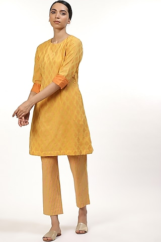 Yellow & Orange Embroidered Tunic by Abraham & Thakore