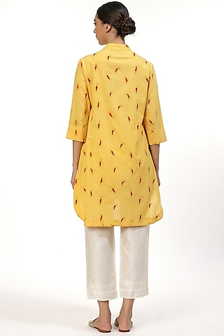 Yellow Embroidered Shirt by Abraham & Thakore
