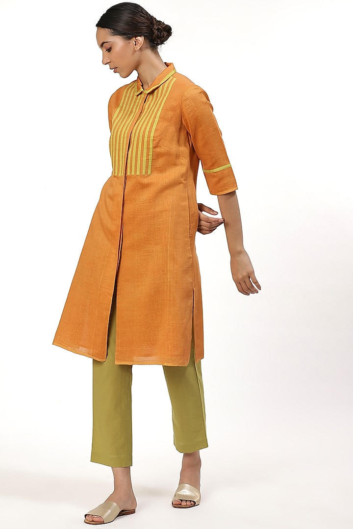 Orange Shirt With Front Buttons by Abraham & Thakore