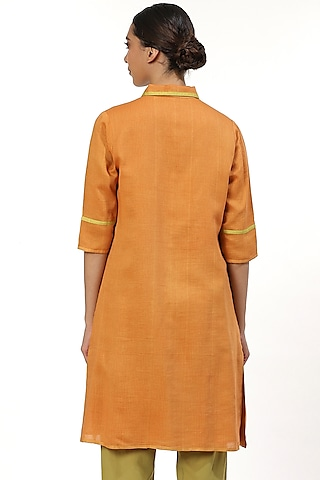 Orange Button Front Shirt by Abraham & Thakore