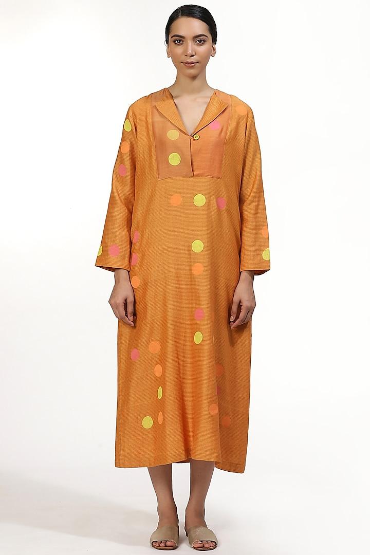Orange Hand Block Printed Tunic by Abraham & Thakore
