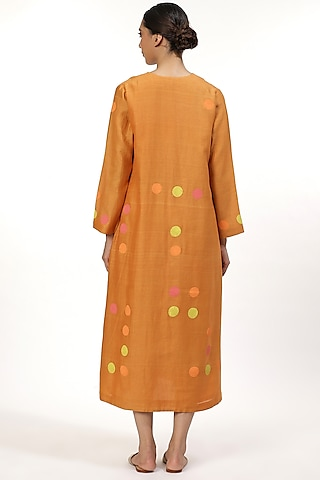 Orange Hand Block Printed Tunic by Abraham & Thakore