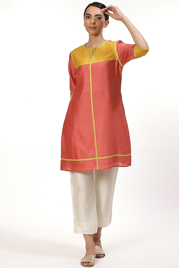 Rose Pink Tunic With Color Blocking by Abraham & Thakore