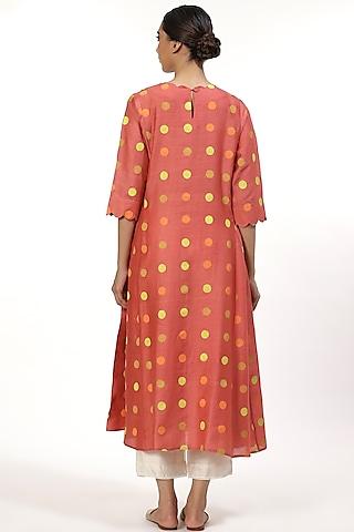 Rose Pink Kalidar Tunic With Dots by Abraham & Thakore