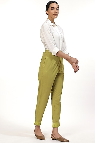 Amla & Lime Hand Block Printed Pants by Abraham & Thakore