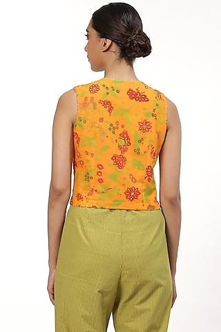 Orange Printed Blouse by Abraham & Thakore