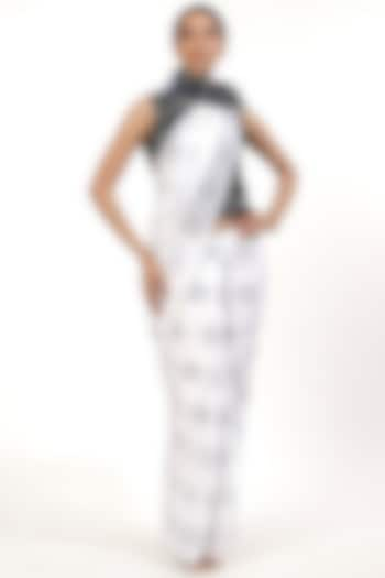 Black & White Embroidered Ombre Saree by Abraham & Thakore