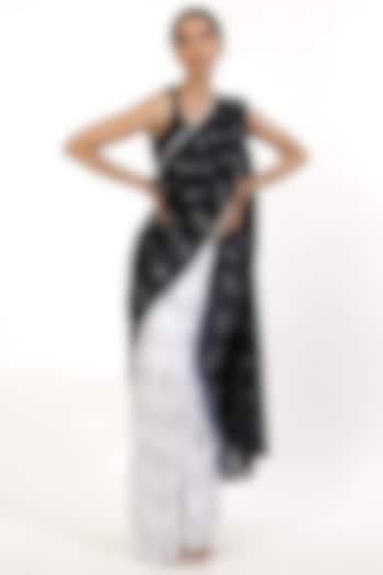 Black & White Hand-Dyed Ombre Saree by Abraham & Thakore