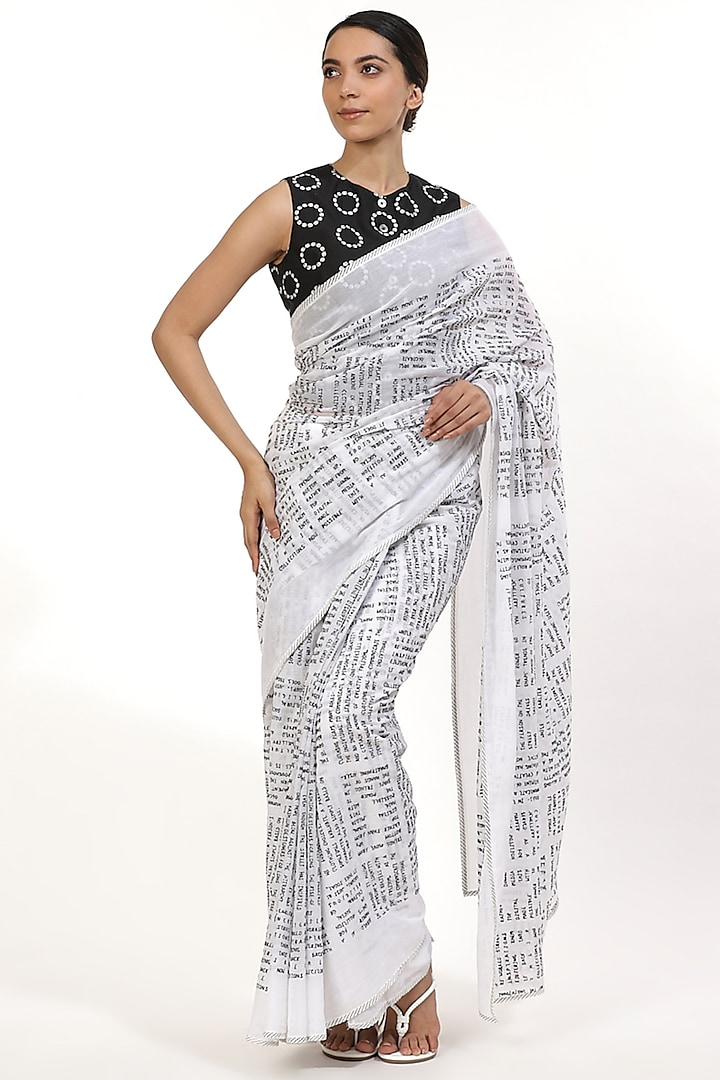 Black & White Embroidered Saree by Abraham & Thakore