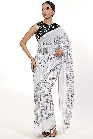 Black & White Embroidered Saree by Abraham & Thakore