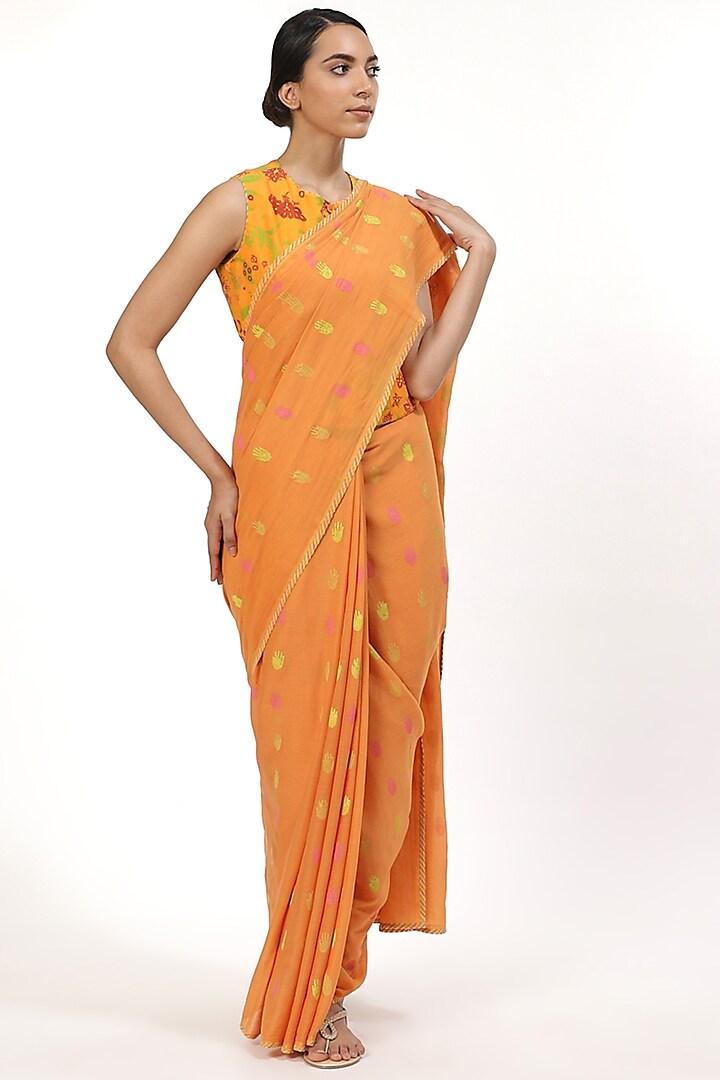 Orange Printed Saree by Abraham & Thakore
