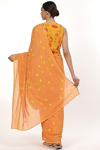 Orange Printed Saree by Abraham & Thakore