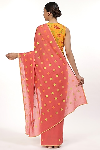Pink Printed Saree by Abraham & Thakore