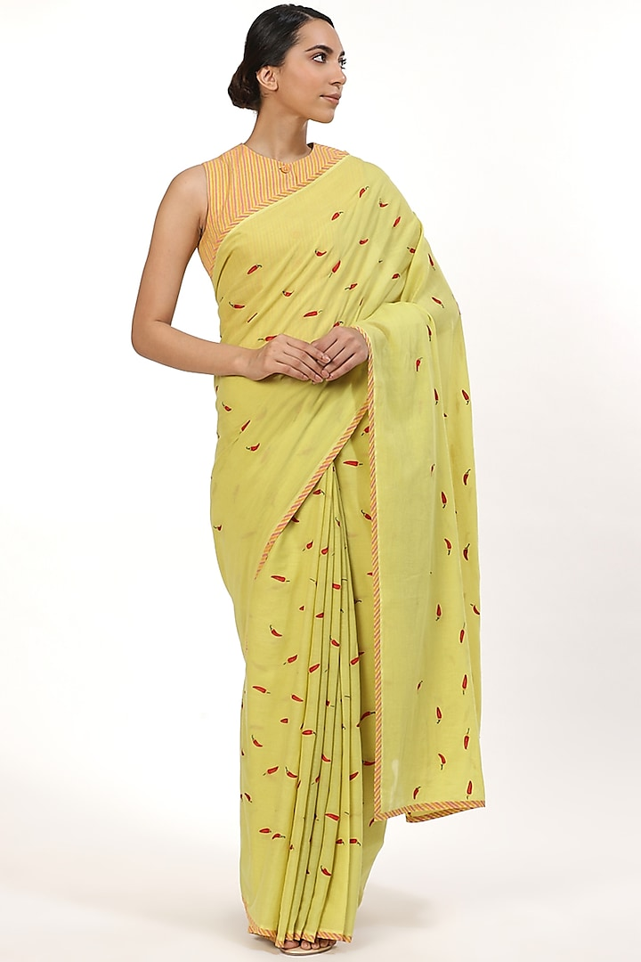 Lime Embroidered Saree by Abraham & Thakore