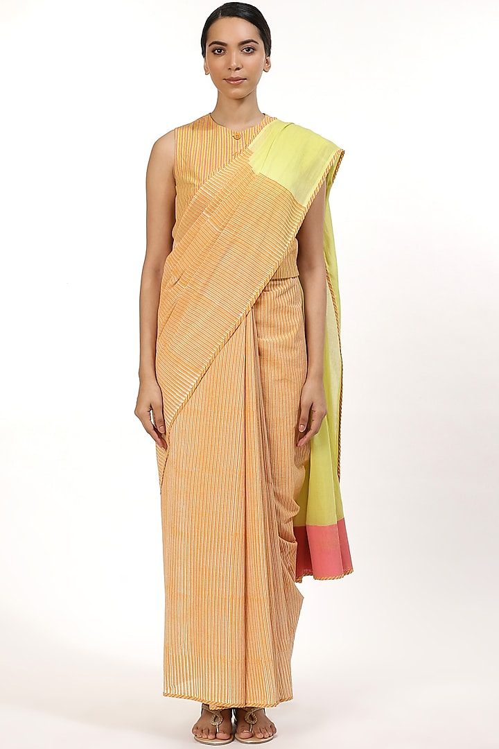 Ivory and Lime Hand Block Printed Saree by Abraham & Thakore
