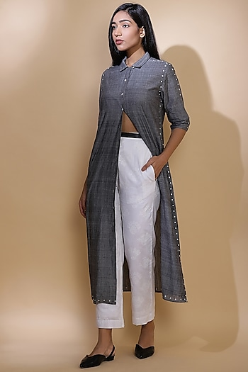 Grey Hand Embroidered Long Jacket by Abraham & Thakore