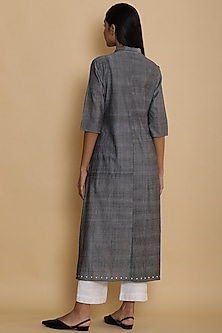 Grey Hand Embroidered Long Jacket by Abraham & Thakore for Ekaya