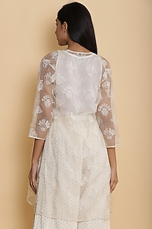 Ivory Jacket With Floral Embroidery by Abraham & Thakore for Ekaya